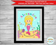 Mermaid Wall Arts, Personalized, Poster, Nursery, Girls Room Decorations, Custom, Digital, Printable, Print, Under the Sea by RainbowLaneDesigns on Etsy