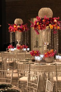 crystal and floral centerpiece for wedding reception