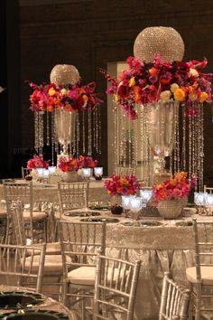 crystal and floral centerpiece for wedding reception, indian wedding, wedding decor