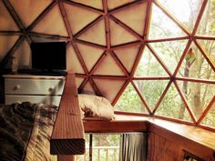 Tiny cabin with geodesic dome roof in Aptos, CA. Photos by Morgan.