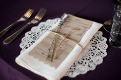 Malloy Events at Rivermill at Dover Landing in Dover, NH. Lavender and twine napkin fold