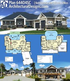 Architectural Designs House Plan 64404SC gives you two beds on the main floor and an optional finished lower level with two more. Ready when you are. Where do YOU want to build?