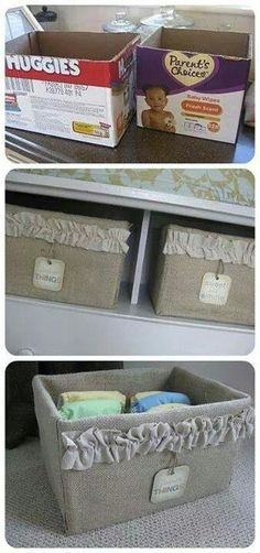 Storage bins from upcycled cardboard boxes