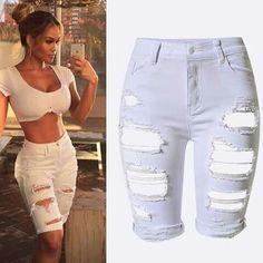 757d5051251 Summer Plus Size New Fashion Women Short Denim Pants Hole Ripped High Waist Jeans  Pants Sexy Lady Stripe Knee Length Denim Jeans
