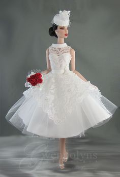 New fashion from Gwendolyns Treasures for Silkstone, Poppy Parker and Monogram. Tea length white lace, satin and tulle wedding dress with Barbie Bridal, Barbie Wedding Dress, Wedding Doll, Barbie Dress, Barbie Clothes, Bridal Dresses, Flower Girl Dresses, Tulle Wedding, Fashion Royalty Dolls