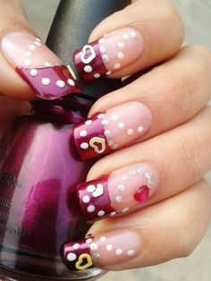 Valentine Day Nail Art idea -Red Heart and dots