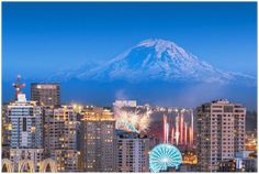 GELATO GLOBAL PRINT - Landscape Aluminum Print - Seattle, Washington, USA downtown skyline with Mt. Rainier and fireworks El Yunque Rainforest, Fireworks Show, Metallic Prints, Us National Parks, Seattle Washington, Photo Illustration, Skyline, Stock Photos, Landscape