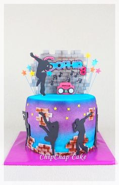 Hiphop Dancing Cake (from fb: Hannover ChipChap Cake)<br> Dance Party Birthday, 7th Birthday, Birthday Parties, Birthday Cakes, Hip Hop Party, 80s Party, Dance Cakes, Dance Themes, Hip Hop Dance