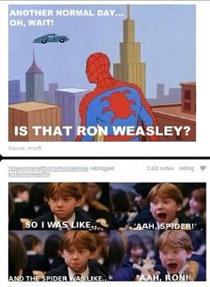 Spider-man meets Ron Weasley..... Well kind of