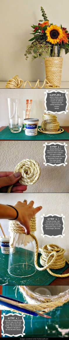 DIY Nautical Rope Vase