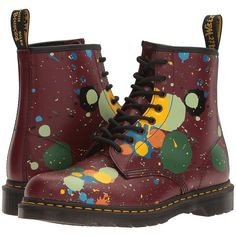 Dr. Martens 1460 (Cherry Red Splatter Smooth) Lace-up Boots ($135) ❤ liked on Polyvore featuring shoes, boots, lacing boots, lace up boots, dr martens shoes, metallic boots and lace up shoes