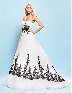 Ball Gown Sweetheart Court Train Organza Wedding Dress with Beading Appliques Sash / Ribbon Draped by LAN TING BRIDE®