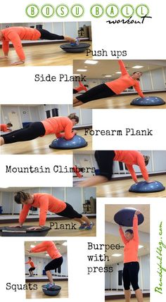 BOSU Workouts - worth pinning just for the burpee one. And squats on the ball side? Elementary... :)