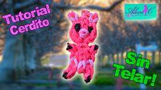 ♥ Tutorial: Cerdito de gomitas (sin telar) ♥ Pig~