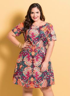 Vestido Decote V Floral Plus Size - Marguerite Curvy Fashion, Girl Fashion, Fashion Dresses, Plus Fashion, Looks Plus Size, Curvy Plus Size, Plus Size Summer Outfit, Plus Size Outfits, Modest Dresses