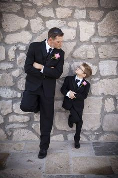 funny and cute wedding photo of groom and son