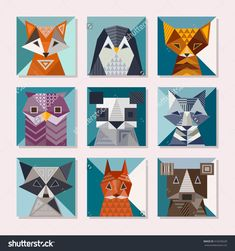 Geometric Animals Set. Cute Cards With Geometric Shapes. Fox, Penguin, Cat, Owl, Panda, Wolf, Bear, Raccoon, Squirrel And Bear Vector Illustrations. - 416239228 : Shutterstock