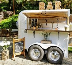 "The Whiskey Chaser for Your Tahoe Wedding Try spicing things up with a ""hosted"" mobile bar. Please note that the host - the wedding couple, parents, whoever is paying for the wedding – pays for all the drinks…Cheers! Coffee Carts, Coffee Truck, Coffee Shop, Coffee Van, Horse Box Conversion, Coffee Trailer, Homemade Smoker, Portable Bar, Rv Camping"