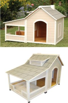 Precision Pet (dog house): Outback Savannah Luxury Dog Home with Porch Wood Dog House, Small Dog House, Air Conditioned Dog House, Dog House Air Conditioner, Insulated Dog House, Dog House Plans, Dog Rooms, Outdoor Dog, House 2