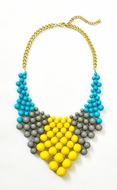 Bauble Necklace  Color Mix Bib  Yellow by ShamelesslySparkly, $14.90
