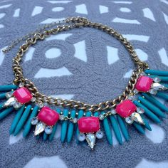 Pink Turquoise Statement Necklace Perfect condition! Great necklace with white tops. Bought at Nordstrom Rack (not J. Crew). J. Crew Jewelry Necklaces