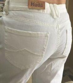 29f0ed49e0e42 Mudd Destructed Crop White Capris Jeans Pants 100% Cotton Size 7 (31x24) NEW