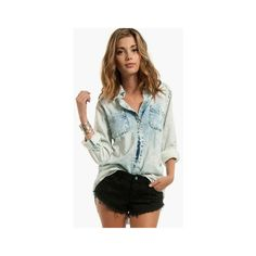 Totally Bleachin' Denim Shirt ❤ liked on Polyvore