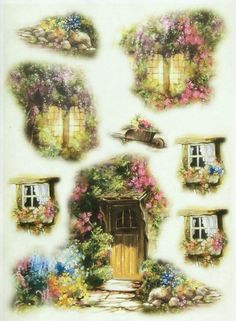 Ricepaper / Decoupage paper, Scrapbooking Sheets Cottage