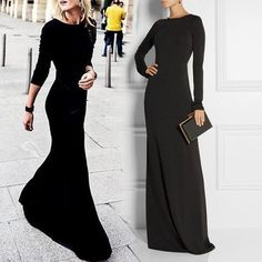 Less is more simple black evening dress with jewel neck Long sleeves zipper back sheath jersey elastic prom wedding party gowns