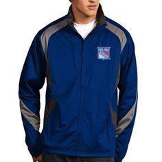 Mens New York Rangers Antigua Royal Blue Tempest Full Zip Performance Jacket