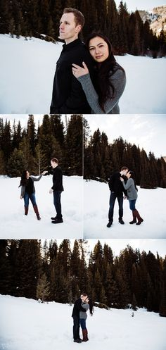 Bonnie & Adam's winter engagements taken in Big Cottonwood Canyon by Utah photographer Sarah Dixon Photography #utahengagements #winterengagements #utahphotographer