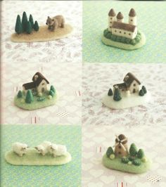 Little bitty needle felted landscapes.