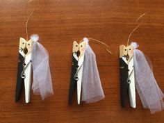 Bride and Groom Clothespin Ornament