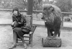 Greta Garbo, INFP, looking understandably uncomfortable next to the MGM studio lion.  1925.