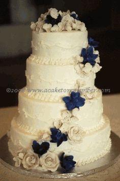 Wedding Cake With Gumpaste Roses And Delphinium
