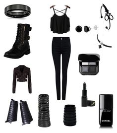 """""""Grimalkin the witch assassin"""" by anahbooms on Polyvore featuring Rick Owens, Pink Tartan, Haider Ackermann, Christian Dior, Barry M and Chanel"""