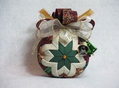 Quilted no sew fabric Christmas ornament ball by KCFabricOrnaments, $15.00
