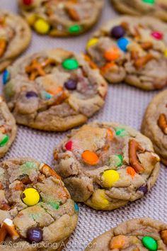 Brown Butter Pretzel M+M Cookies by sallysbakingaddiction.com