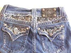 MISS ME Jeans size 26/33 Boot cut butterfly bling low rise JP5002-6