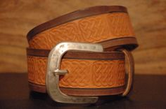 Celtic Leather Belt  Engraved Knots  Size  Belt by CUERO925LEATHER, €25.00