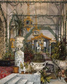 Interiors of the Winter Palace. The Winter Garden of Empress Alexandra Fyodorovna, Russia, 1860s, Ukhtomsky Constantine Andreyevich.