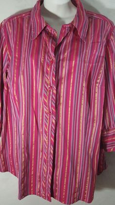 ece741f8851 Lane Bryant Plus 18 20 Blouse Button Front Shirt Striped Pink Gold 3 4  sleeve