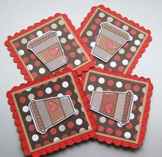 Coffee Themed Gift Tag Style Embellishments by CraftyMushroomCards, £2.20
