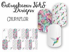 Outracheous Jamberry custom Nail art studio hummingbird