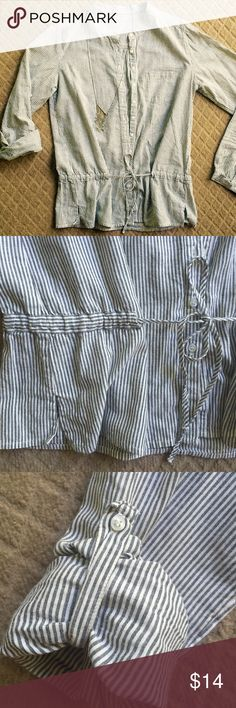 Blue and White stripe Long Button Down Top This is the softest cotton top, adjustable tie at waist line, can be worn at long sleeve or with button ties to keep sleeves rolled up. No size on it but I'd say a small/medium. Excellent condition! Tops Button Down Shirts