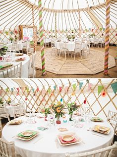 The whimsical candy-stripe detailing and bright table decorations add a sense of fun to this yurt wedding