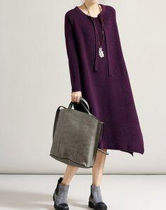black/ purple/ round collar long Loose fitting dress by MaLieb