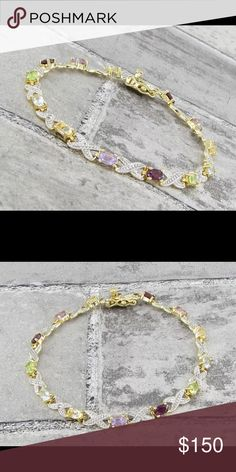 """18KT over 925 SS with Gemstones & genuine diamonds Stunning!!! 18KT gold over 925 Sterling Silver with multicolor Gemstones & genuine diamonds tennis bracelet 7.25"""" long 925 Jewelry Bracelets"""