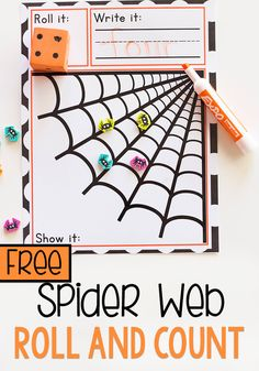 Create a fun spider themed math activity for your kindergarteners with this free printable Spider Roll and Count mat. Pair it up with your favorite dice and spider toys for a great way to practice counting. Kindergarten Math Activities, Fun Math Games, Math Classroom, Preschool Activities, Insect Activities, Kids Math, Numbers Preschool, Preschool Worksheets, Halloween Math