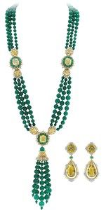 A set composed of a a diamond green agate and yellow sapphire long necklace and a citrine diamond and agate pair of earrings. - Van Cleef & Arpels